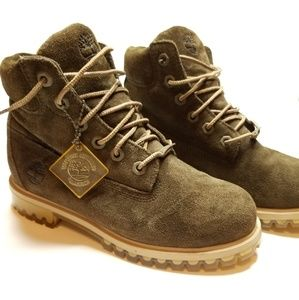 TIMBERLAND OLIVE CLEAR GUM SOLE BOOTS SZ:4